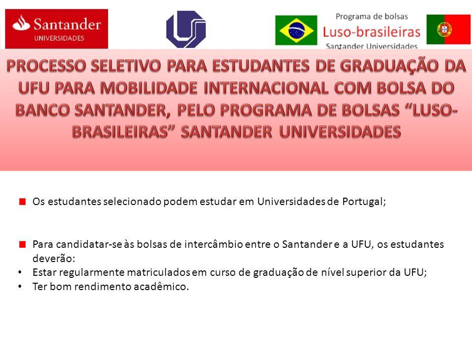 PROCESSO SELETIVO PARA ESTUDANTES DE GRADUAÇÃO DA UFU PARA MOBILIDADE INTERNACIONAL COM BOLSA DO BANCO SANTANDER, PELO PROGRAMA DE BOLSAS LUSO-BRASILEIRAS SANTANDER UNIVERSIDADES