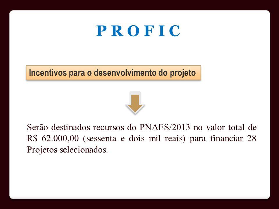 P R O F I C Incentivos para o desenvolvimento do projeto