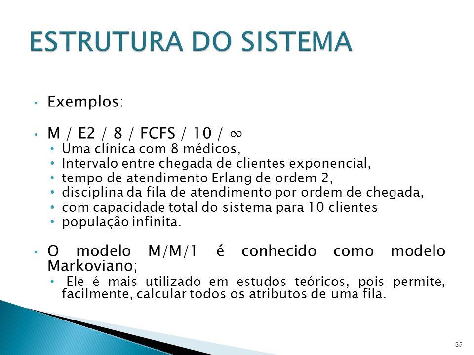 ESTRUTURA DO SISTEMA Exemplos: M / E2 / 8 / FCFS / 10 / ∞