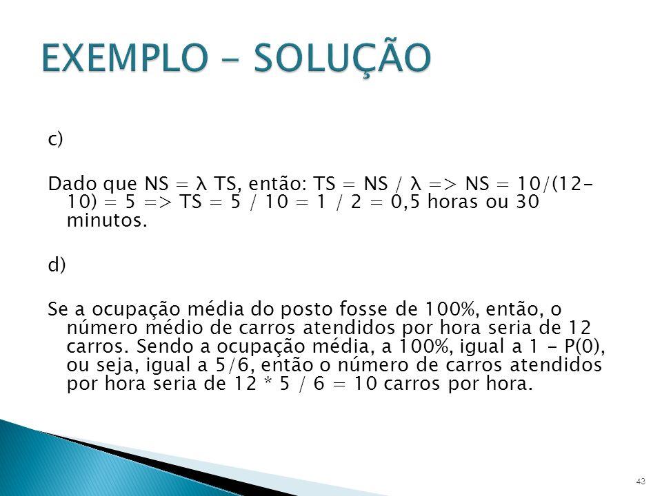 EXEMPLO - SOLUÇÃO c) Dado que NS = λ TS, então: TS = NS / λ => NS = 10/(12- 10) = 5 => TS = 5 / 10 = 1 / 2 = 0,5 horas ou 30 minutos.