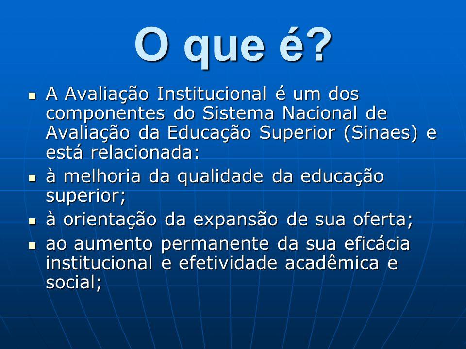O que é A Avaliação Institucional é um dos componentes do Sistema Nacional de Avaliação da Educação Superior (Sinaes) e está relacionada: