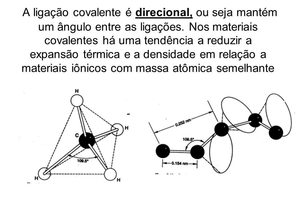 A ligação covalente é direcional, ou seja mantém um ângulo entre as ligações.