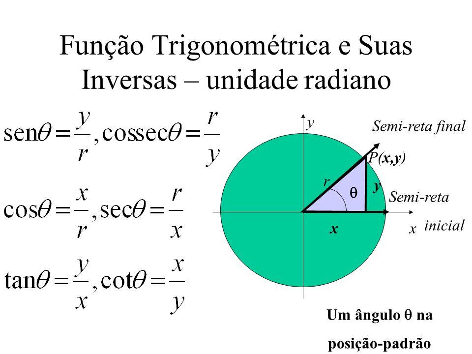 Função Trigonométrica e Suas Inversas – unidade radiano