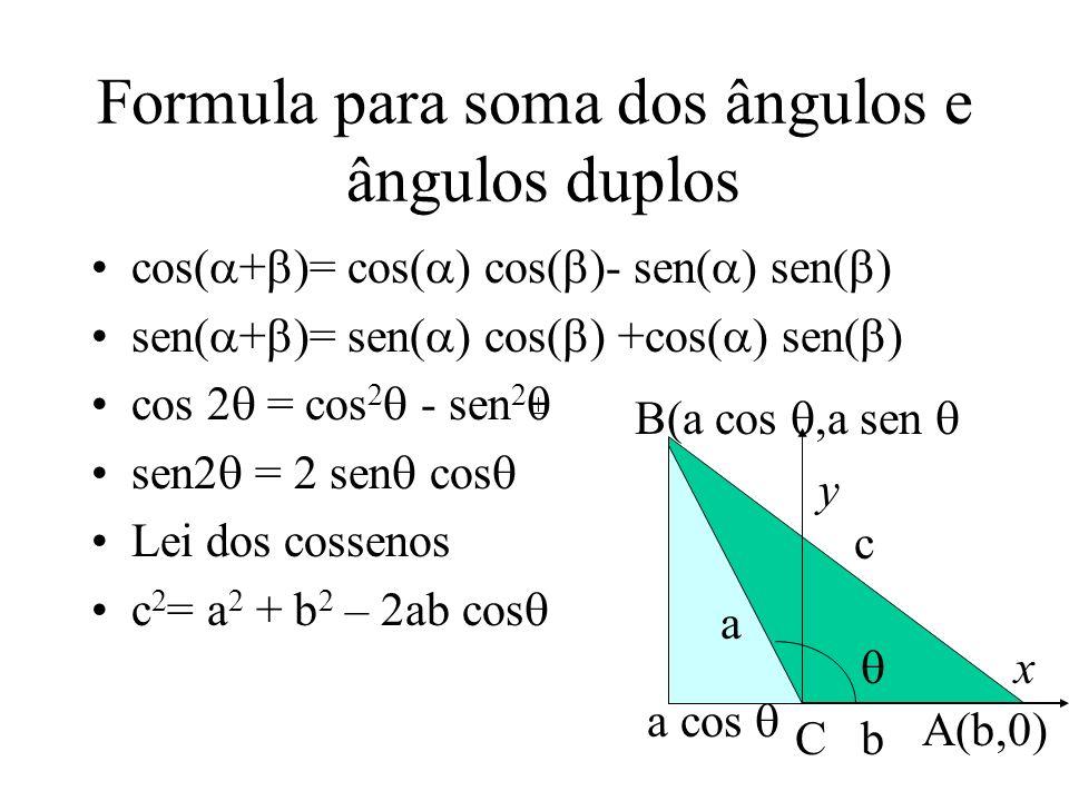 Formula para soma dos ângulos e ângulos duplos