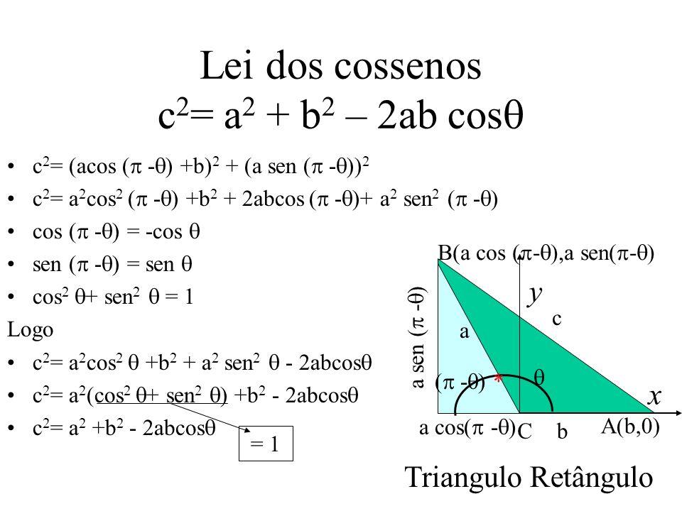 Lei dos cossenos c2= a2 + b2 – 2ab cos