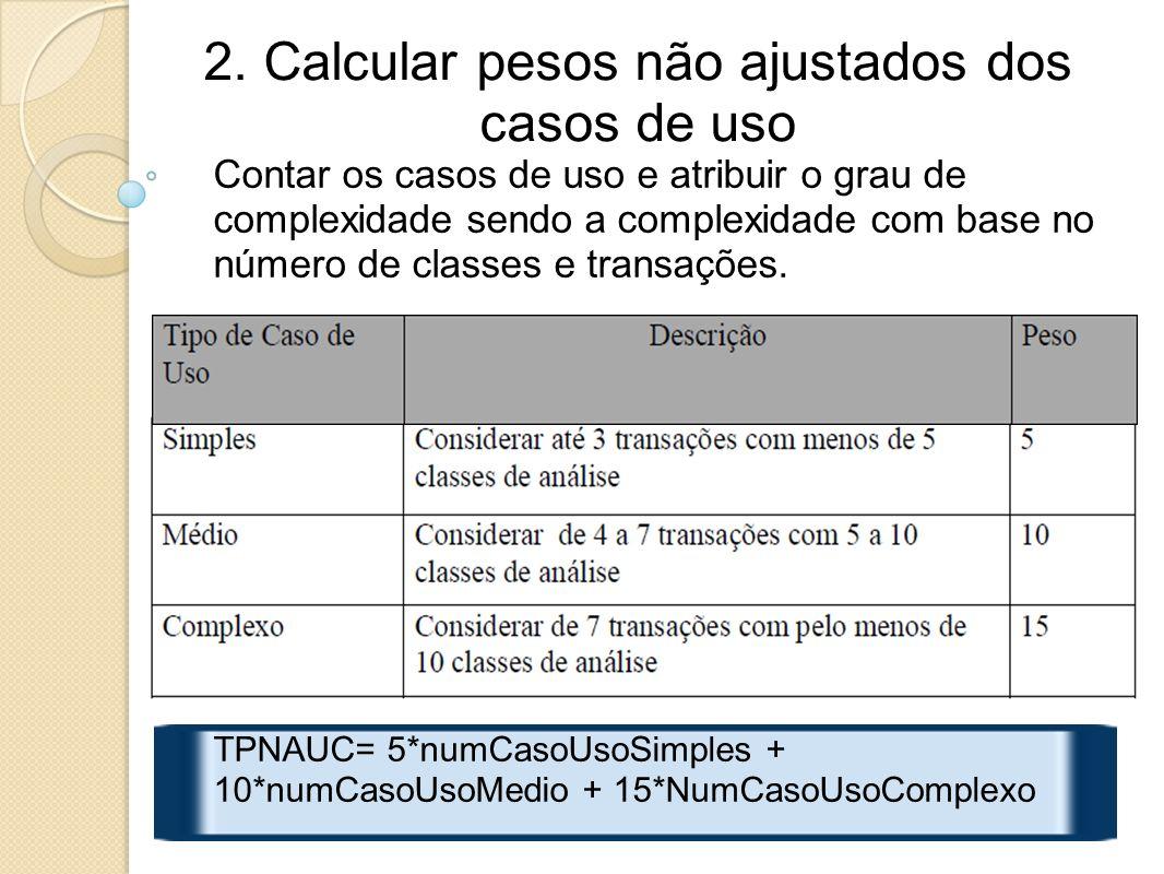 2. Calcular pesos não ajustados dos casos de uso