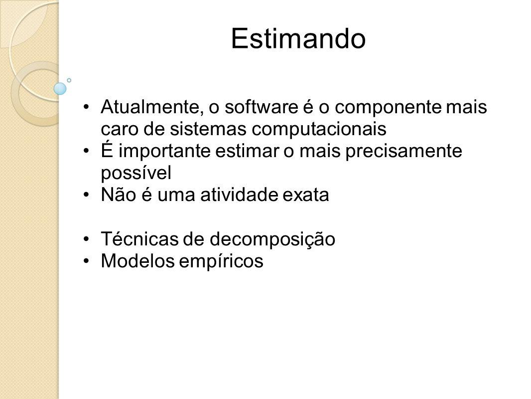 Estimando Atualmente, o software é o componente mais caro de sistemas computacionais. É importante estimar o mais precisamente possível.