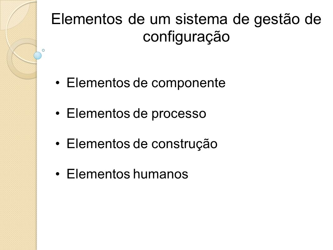 Elementos de um sistema de gestão de configuração
