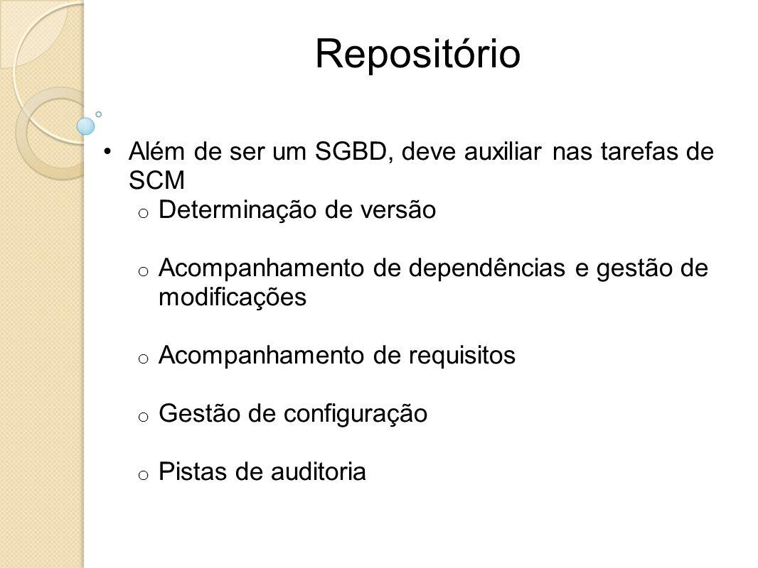 Repositório Além de ser um SGBD, deve auxiliar nas tarefas de SCM
