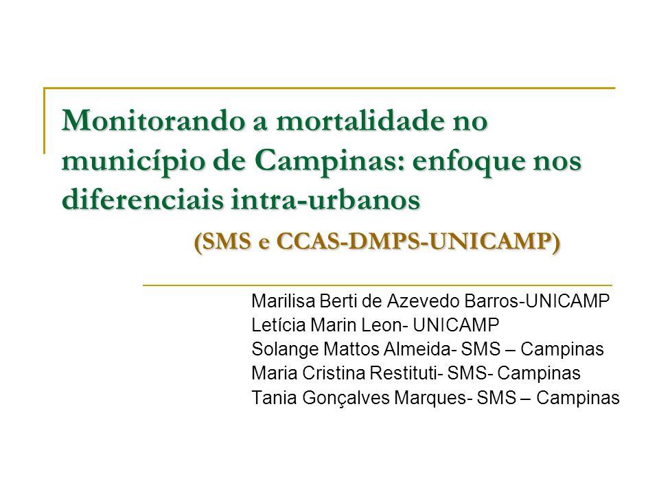 Monitorando a mortalidade no município de Campinas: enfoque nos diferenciais intra-urbanos (SMS e CCAS-DMPS-UNICAMP)