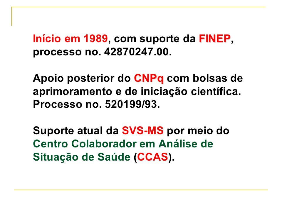 Início em 1989, com suporte da FINEP, processo no. 42870247. 00