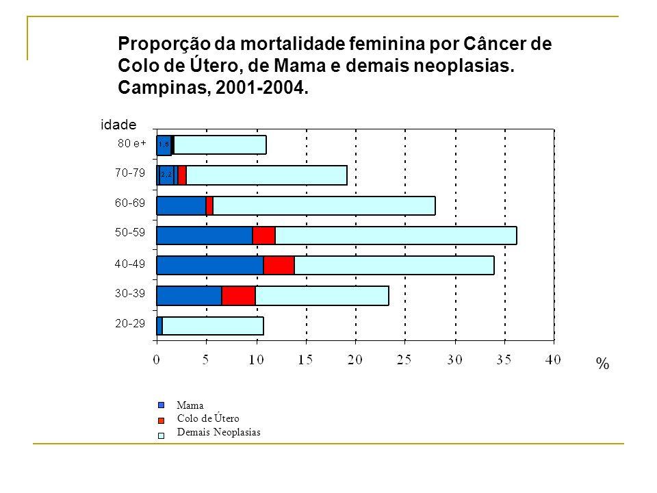 Proporção da mortalidade feminina por Câncer de Colo de Útero, de Mama e demais neoplasias. Campinas, 2001-2004.