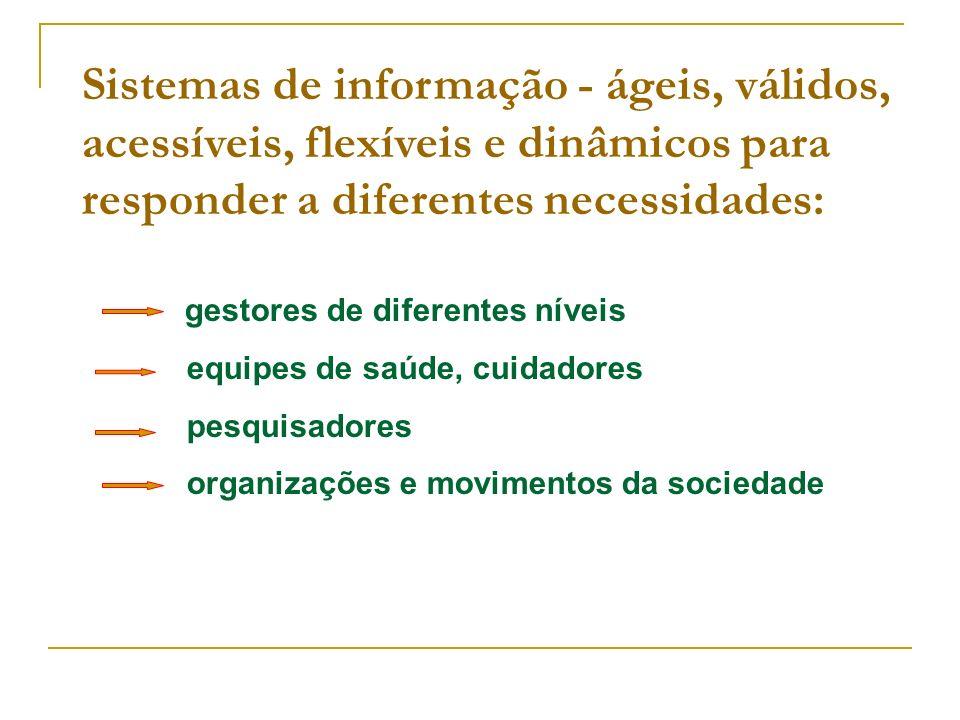 Sistemas de informação - ágeis, válidos, acessíveis, flexíveis e dinâmicos para responder a diferentes necessidades: