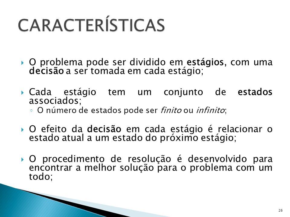 CARACTERÍSTICASO problema pode ser dividido em estágios, com uma decisão a ser tomada em cada estágio;