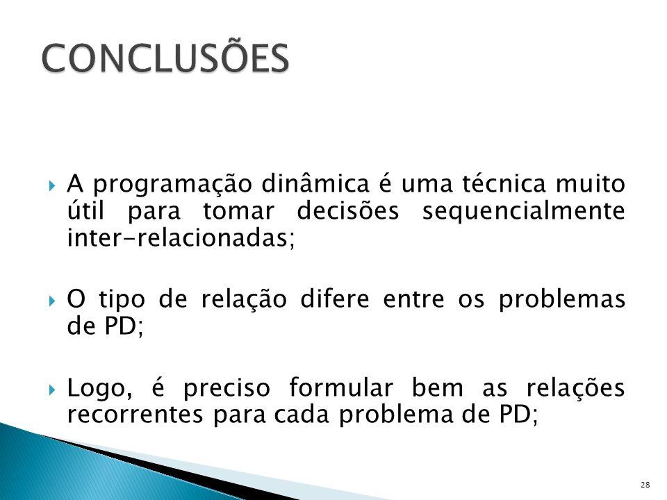 CONCLUSÕES A programação dinâmica é uma técnica muito útil para tomar decisões sequencialmente inter-relacionadas;