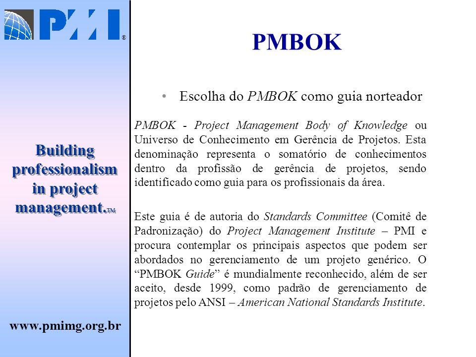 PMBOK Escolha do PMBOK como guia norteador