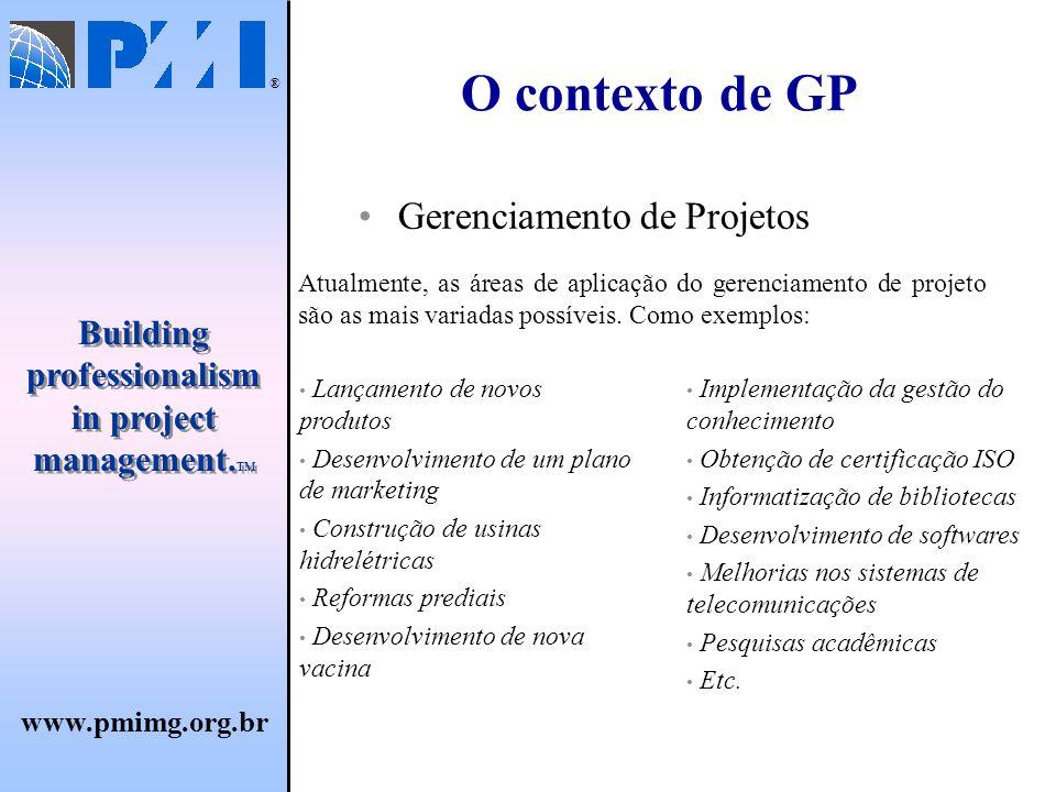 O contexto de GP Gerenciamento de Projetos