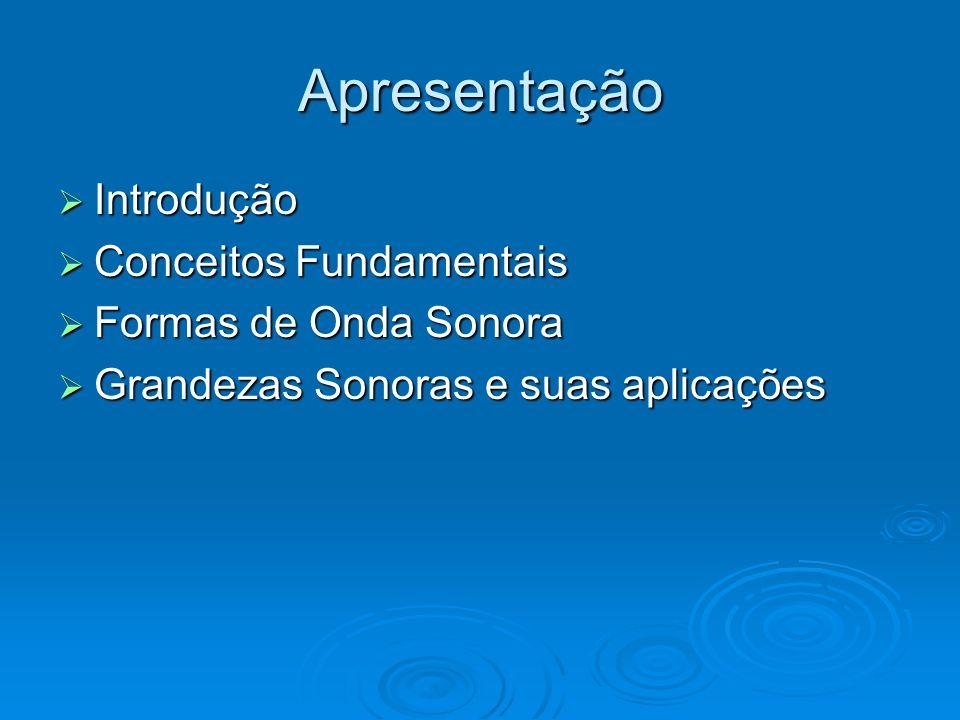 Apresentação Introdução Conceitos Fundamentais Formas de Onda Sonora