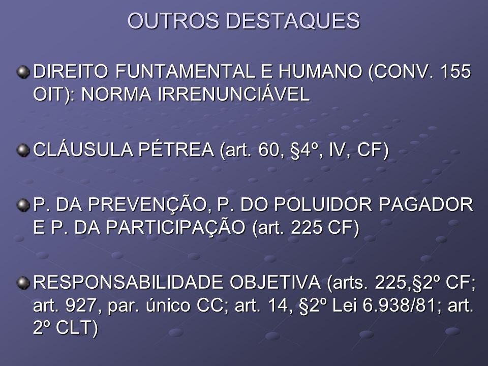 OUTROS DESTAQUESDIREITO FUNTAMENTAL E HUMANO (CONV. 155 OIT): NORMA IRRENUNCIÁVEL. CLÁUSULA PÉTREA (art. 60, §4º, IV, CF)