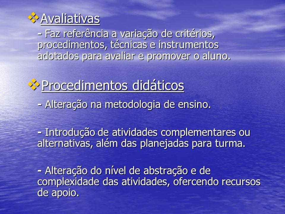 Procedimentos didáticos - Alteração na metodologia de ensino.