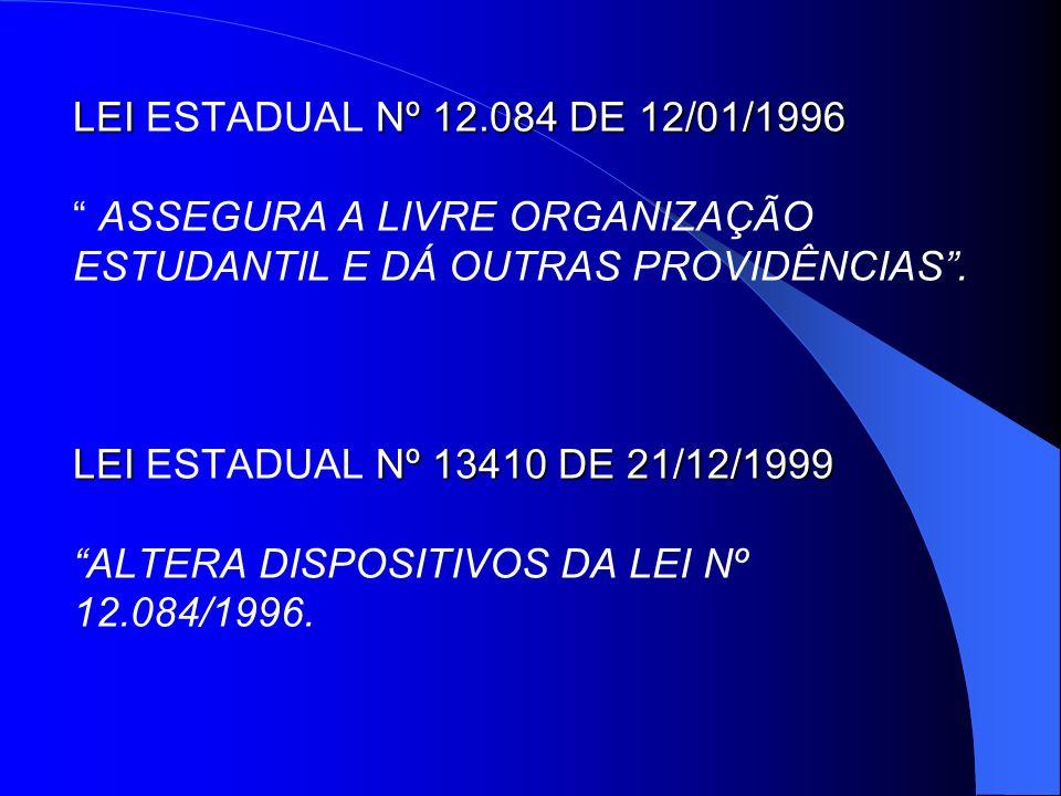 LEI ESTADUAL Nº 12.084 DE 12/01/1996 ASSEGURA A LIVRE ORGANIZAÇÃO ESTUDANTIL E DÁ OUTRAS PROVIDÊNCIAS .