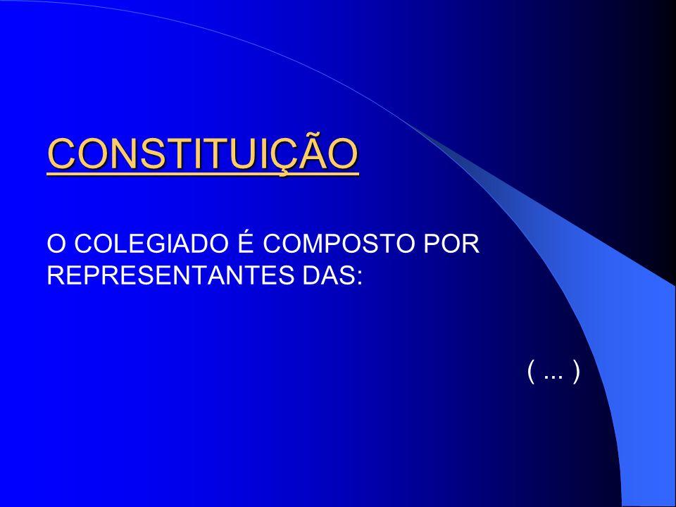 CONSTITUIÇÃO O COLEGIADO É COMPOSTO POR REPRESENTANTES DAS: ( ... )