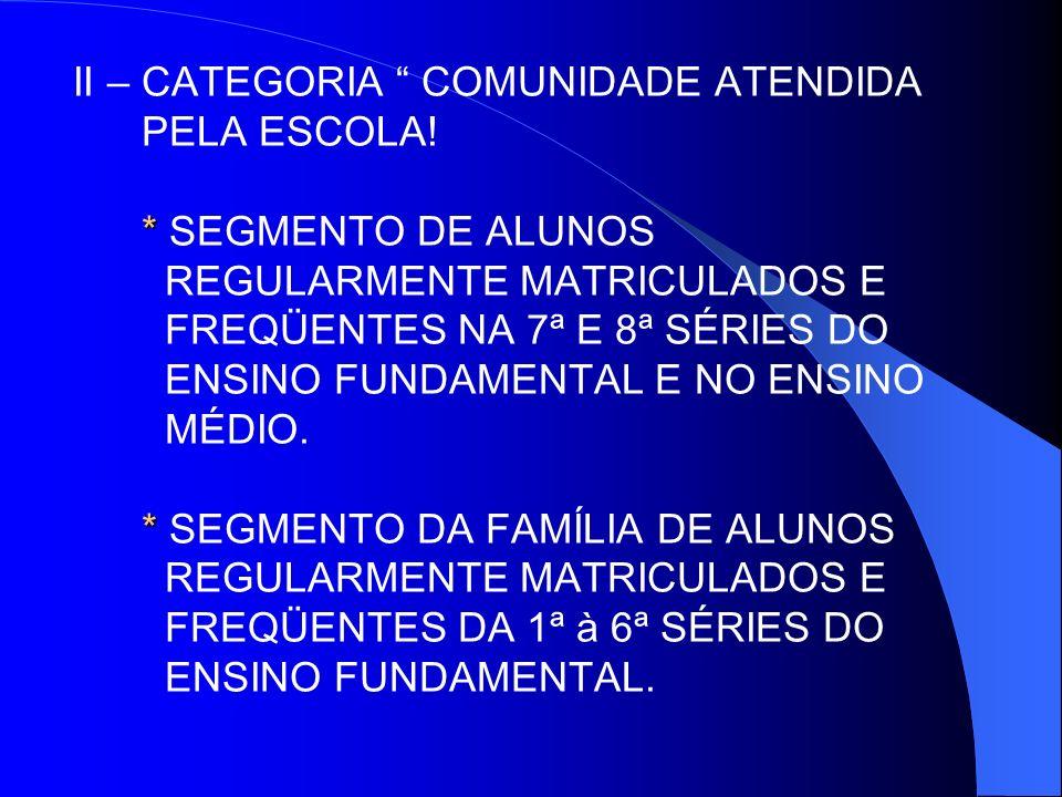 II – CATEGORIA COMUNIDADE ATENDIDA PELA ESCOLA