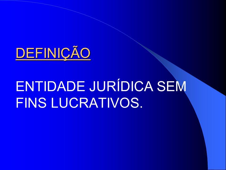 DEFINIÇÃO ENTIDADE JURÍDICA SEM FINS LUCRATIVOS.