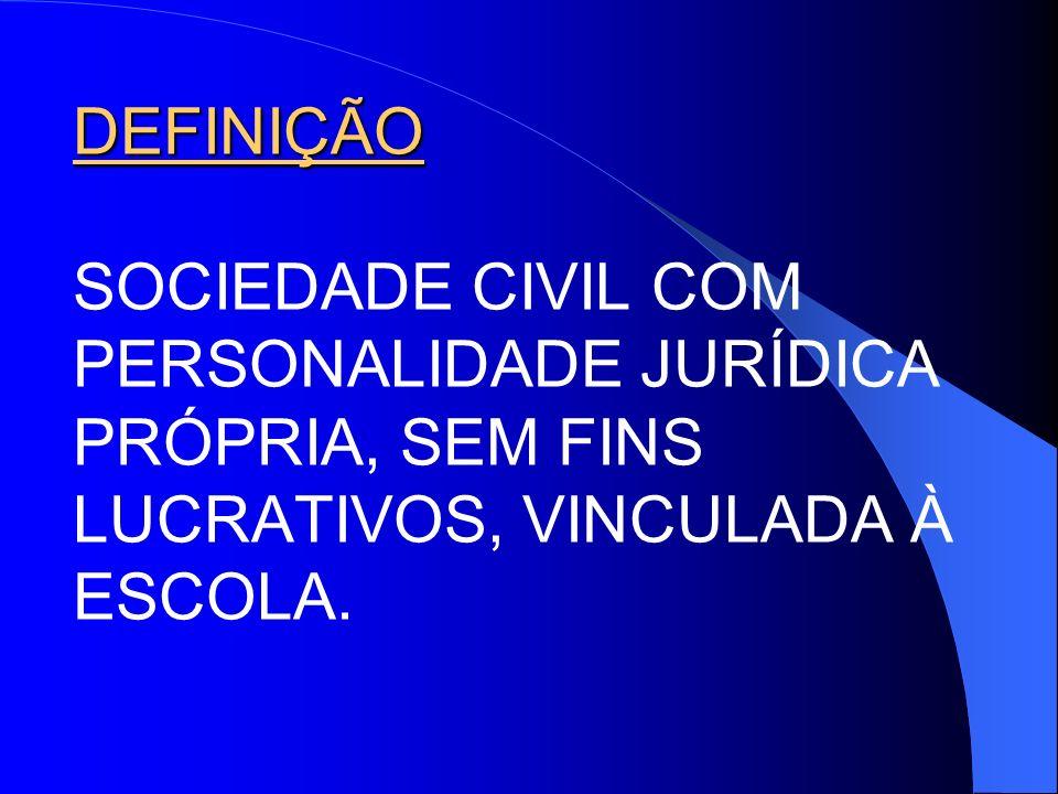 DEFINIÇÃO SOCIEDADE CIVIL COM PERSONALIDADE JURÍDICA PRÓPRIA, SEM FINS LUCRATIVOS, VINCULADA À ESCOLA.