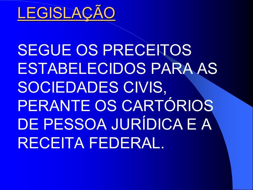 LEGISLAÇÃO SEGUE OS PRECEITOS ESTABELECIDOS PARA AS SOCIEDADES CIVIS, PERANTE OS CARTÓRIOS DE PESSOA JURÍDICA E A RECEITA FEDERAL.
