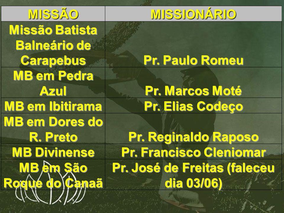 Missão Batista Balneário de Carapebus Pr. Paulo Romeu MB em Pedra Azul