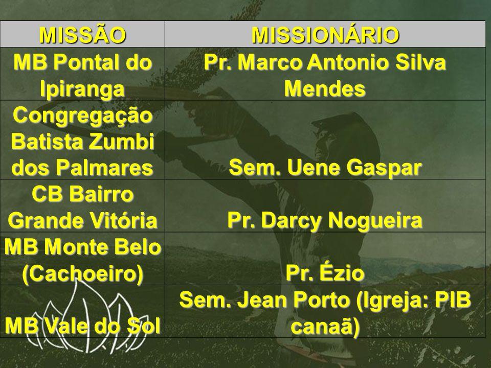 Pr. Marco Antonio Silva Mendes Congregação Batista Zumbi dos Palmares