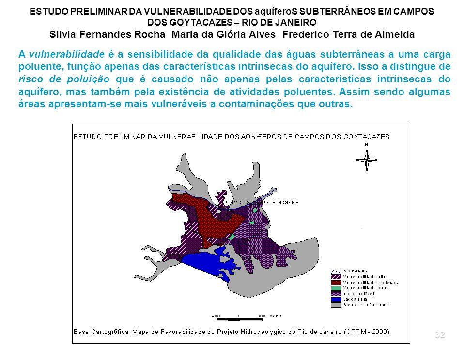 ESTUDO PRELIMINAR DA VULNERABILIDADE DOS aquíferoS SUBTERRÂNEOS EM CAMPOS DOS GOYTACAZES – RIO DE JANEIRO