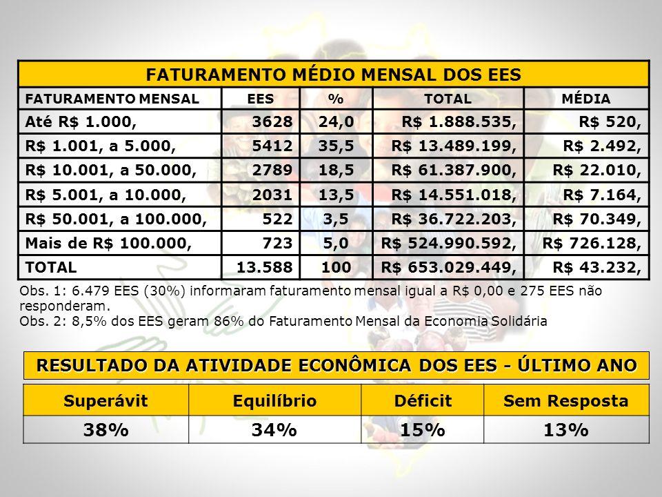 38% 34% 15% 13% FATURAMENTO MÉDIO MENSAL DOS EES