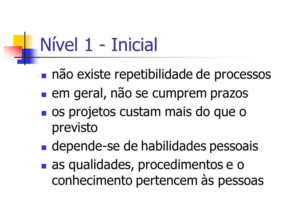 Nível 1 - Inicial não existe repetibilidade de processos
