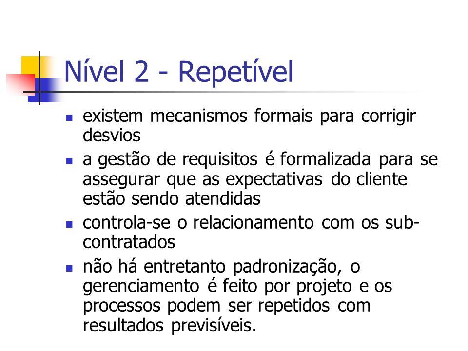 Nível 2 - Repetível existem mecanismos formais para corrigir desvios