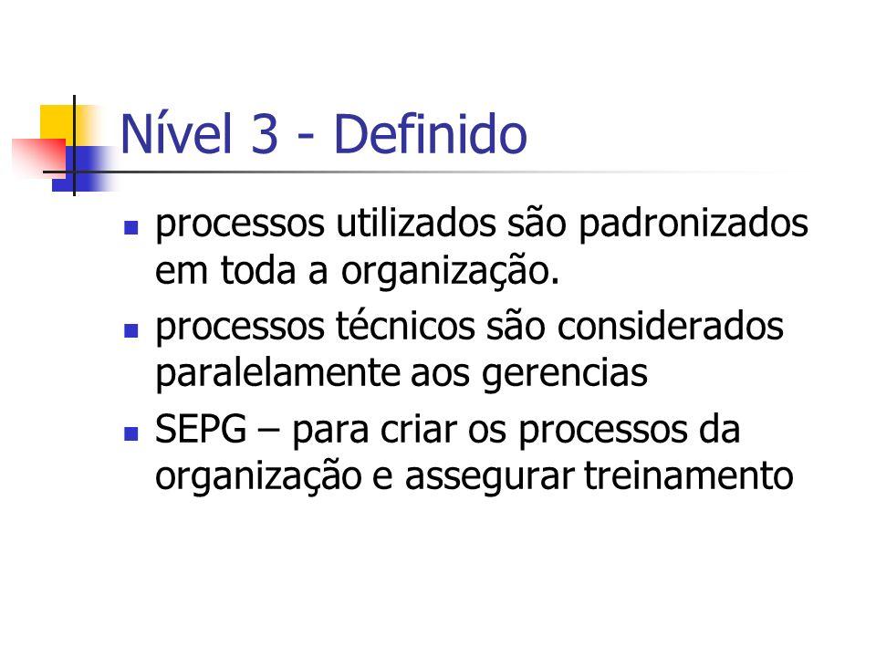 Nível 3 - Definidoprocessos utilizados são padronizados em toda a organização. processos técnicos são considerados paralelamente aos gerencias.