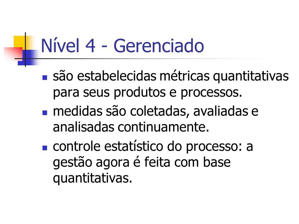 Nível 4 - Gerenciadosão estabelecidas métricas quantitativas para seus produtos e processos.