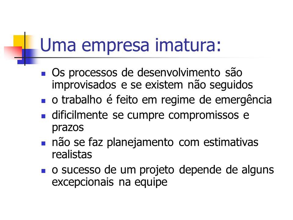 Uma empresa imatura:Os processos de desenvolvimento são improvisados e se existem não seguidos. o trabalho é feito em regime de emergência.