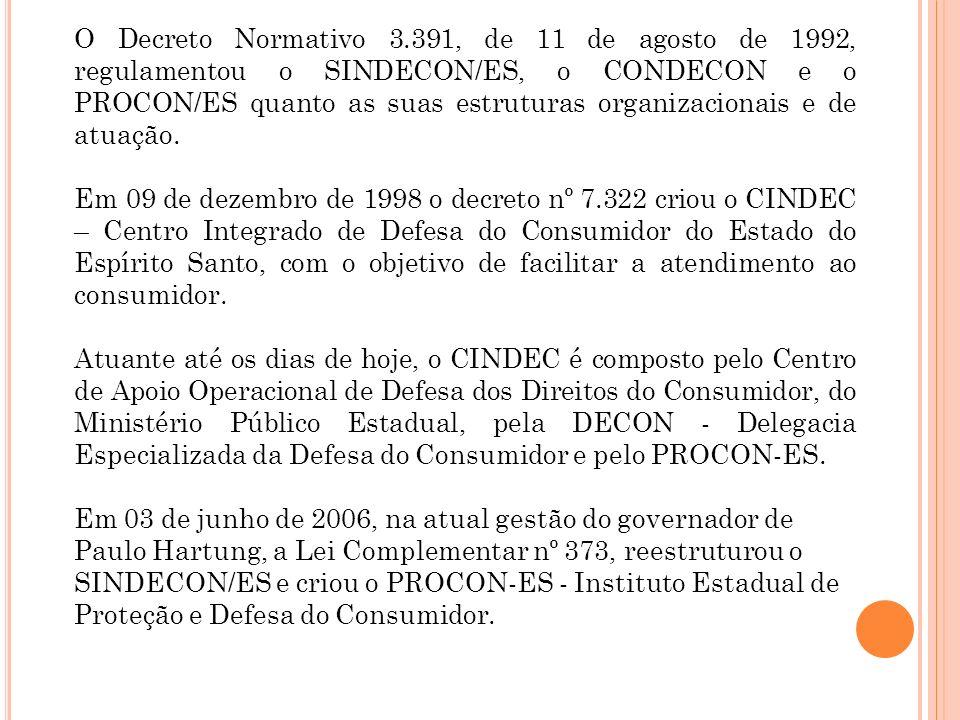 O Decreto Normativo 3.391, de 11 de agosto de 1992, regulamentou o SINDECON/ES, o CONDECON e o PROCON/ES quanto as suas estruturas organizacionais e de atuação.
