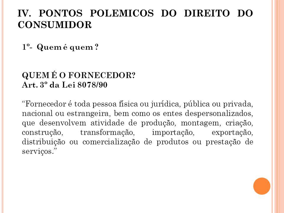 IV. PONTOS POLEMICOS DO DIREITO DO CONSUMIDOR
