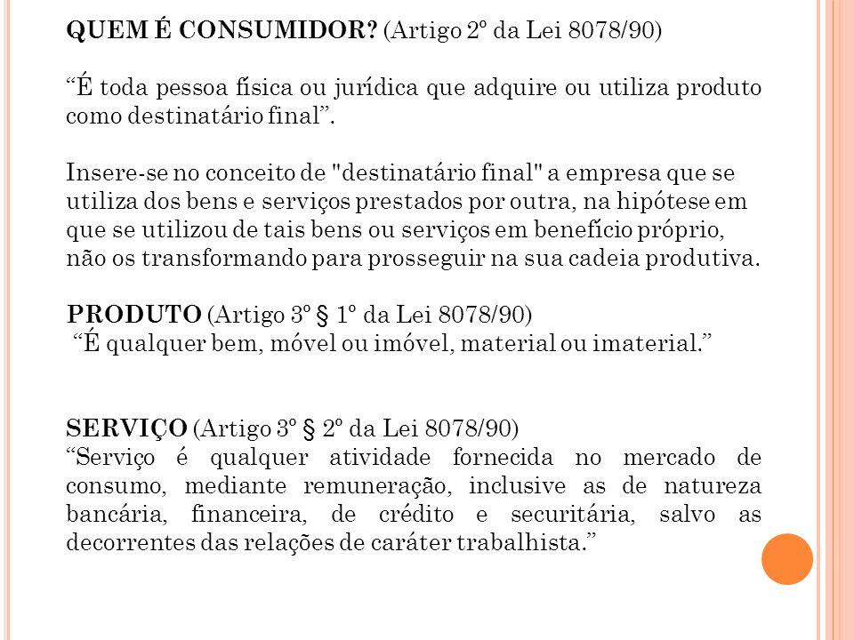 QUEM É CONSUMIDOR (Artigo 2º da Lei 8078/90)