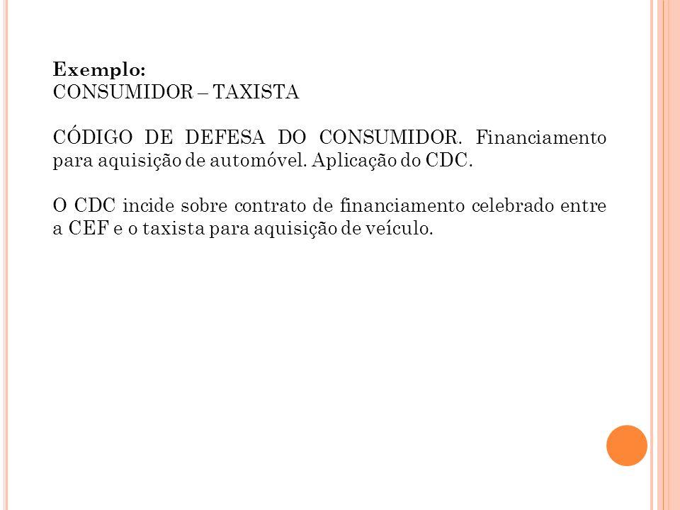 Exemplo: CONSUMIDOR – TAXISTA. CÓDIGO DE DEFESA DO CONSUMIDOR. Financiamento para aquisição de automóvel. Aplicação do CDC.