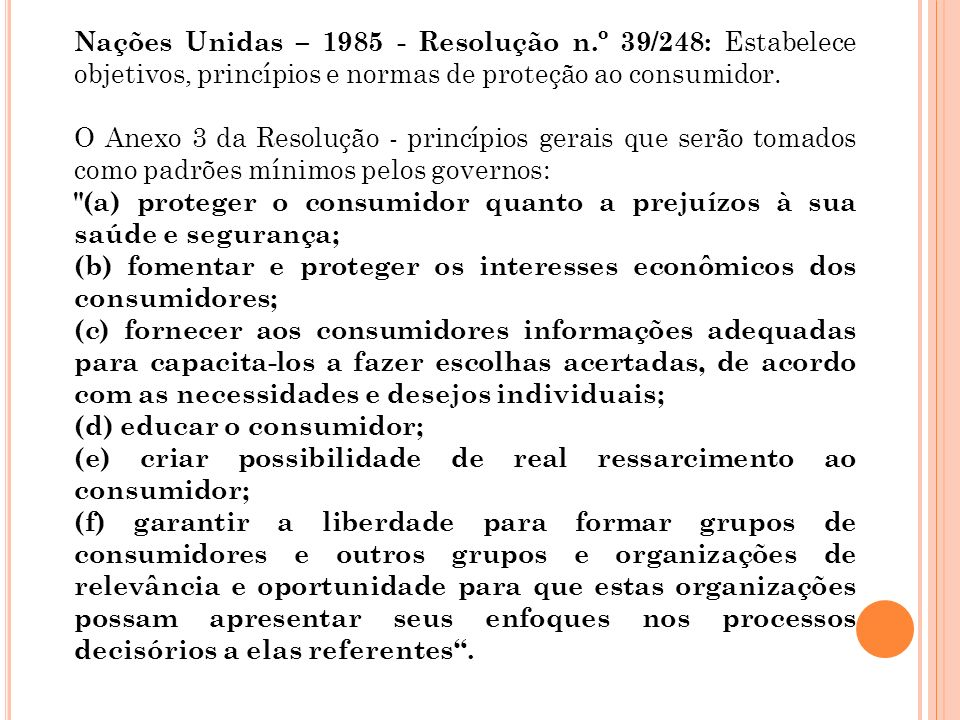 Nações Unidas – 1985 - Resolução n