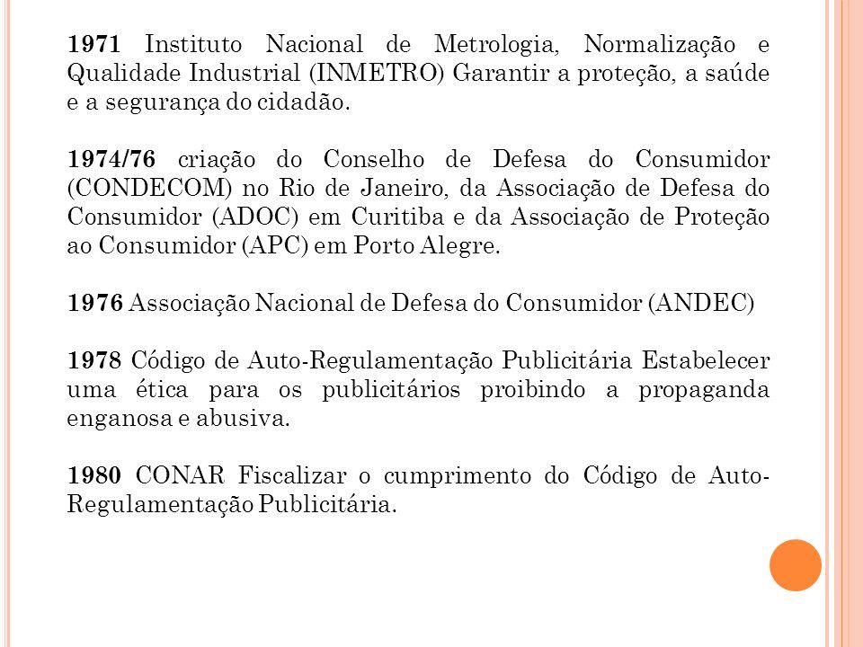 1971 Instituto Nacional de Metrologia, Normalização e Qualidade Industrial (INMETRO) Garantir a proteção, a saúde e a segurança do cidadão.