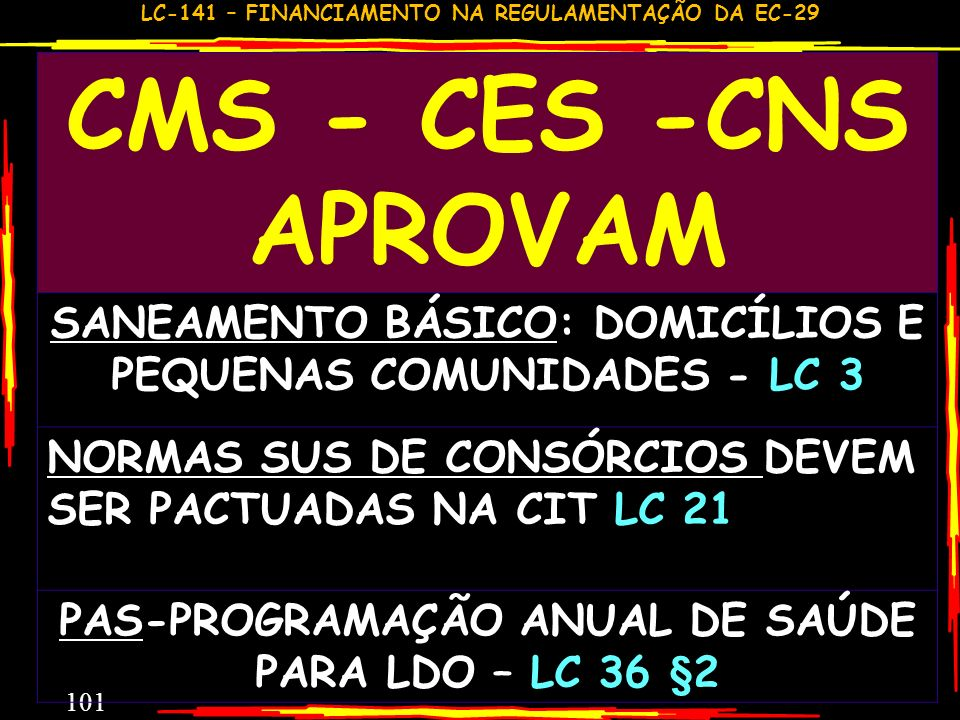 CMS - CES -CNS APROVAMSANEAMENTO BÁSICO: DOMICÍLIOS E PEQUENAS COMUNIDADES - LC 3. NORMAS SUS DE CONSÓRCIOS DEVEM SER PACTUADAS NA CIT LC 21.