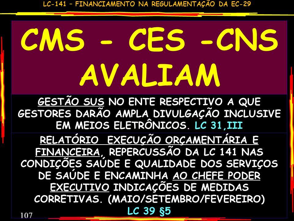 CMS - CES -CNS AVALIAMGESTÃO SUS NO ENTE RESPECTIVO A QUE GESTORES DARÃO AMPLA DIVULGAÇÃO INCLUSIVE EM MEIOS ELETRÔNICOS. LC 31,III.