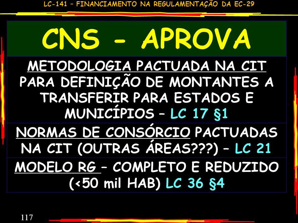 CNS - APROVAMETODOLOGIA PACTUADA NA CIT PARA DEFINIÇÃO DE MONTANTES A TRANSFERIR PARA ESTADOS E MUNICÍPIOS – LC 17 §1.