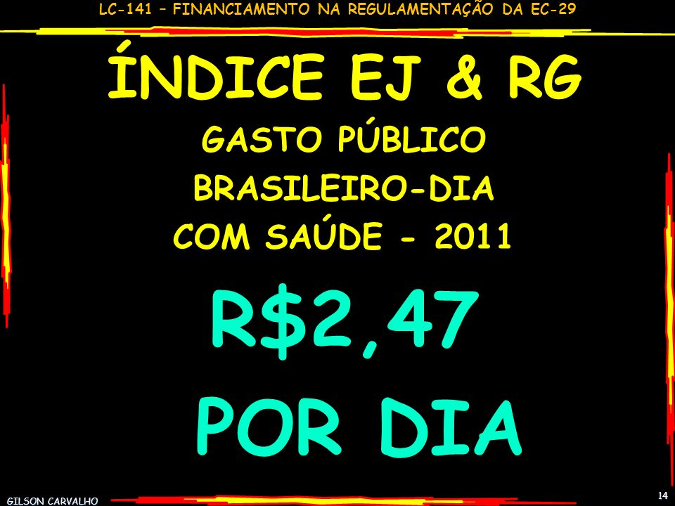 R$2,47 POR DIA ÍNDICE EJ & RG GASTO PÚBLICO BRASILEIRO-DIA