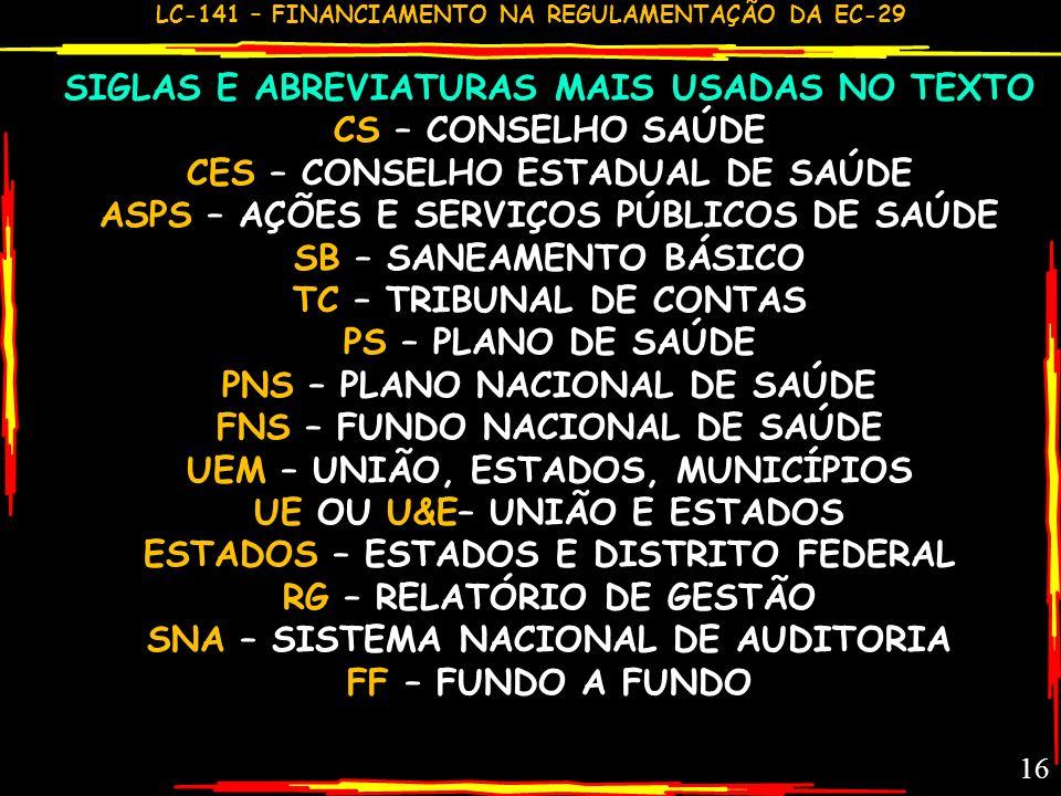 SIGLAS E ABREVIATURAS MAIS USADAS NO TEXTO CS – CONSELHO SAÚDE
